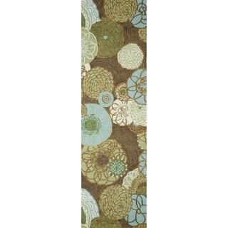 Liora Manne Ravella Modern Floral Disco Rug Outdoor Rug (2' x 8') - 2' x 8'