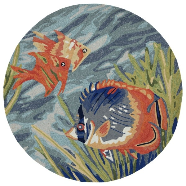 Liora Manne Ravella Tropical Fish Outdoor Rug (5' x 5') - 5' x 5'