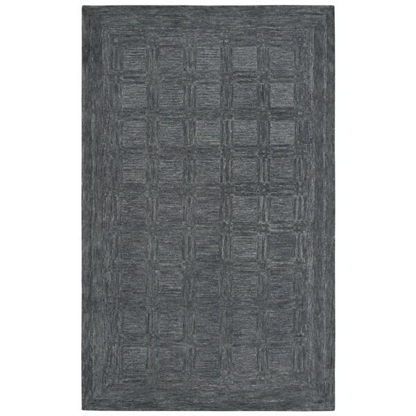 Rizzy Home Fifth Avenue Dark Grey Squares Handmade Wool Area Rug - 8' x 10'