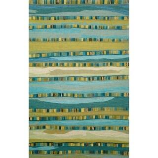 Liora Manne Seville Mosaic Stripe Indoor Wool Rug Blue 5' X 8' - 5' x 8'