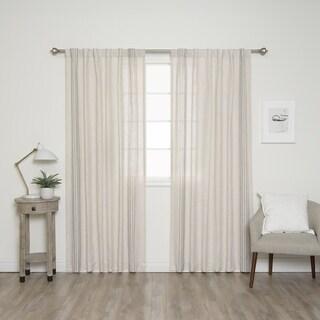 """Aurora Home Linen Blend Stripe Border Curtain Panel Pair - 52""""W x 84""""L"""