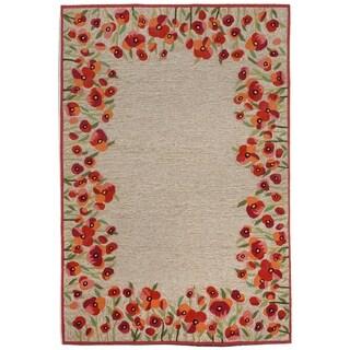 Liora Manne Handmade Red Floral Border Outdoor Rug (5' x 7'6)