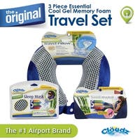 Cloudz Cool Gel Memory Foam Travel Neck Pillow, Travel Blanket & Cool Gel Sleep Mask