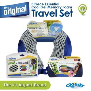 Cloudz Cool Gel Memory Foam Travel Neck Pillow, Travel Blanket & Cool Gel Sleep Mask (4 options available)