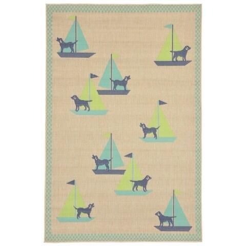 Liora Manne Nautical Dog Outdoor Rug (4'10 x 7'6) - 4'10 x 7'6