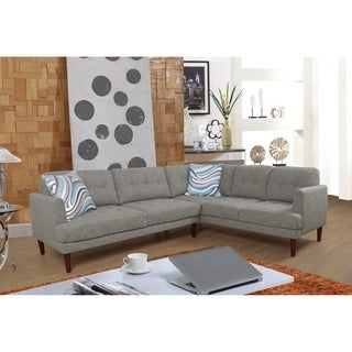 Star Home Mid Century Grey Upholstered Living Room Sectional Sofa Set
