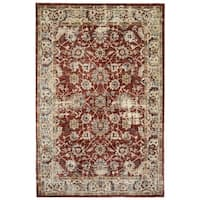 Seirafian Distressed Red/Ivory Synthetic Fiber Classic Oriental Area Rug - 4'10 x 7'4