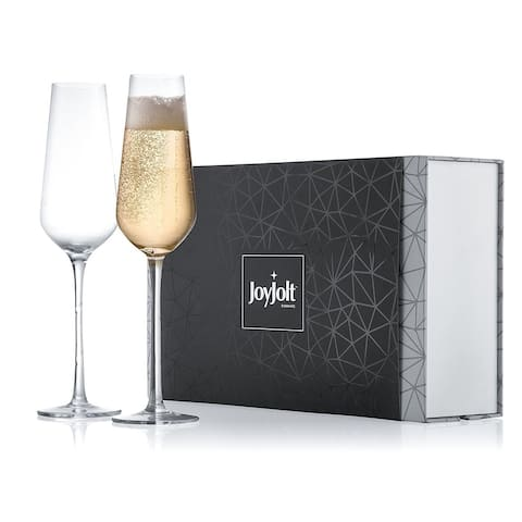 JoyJolt Meille High End Non-Leaded Crystal Champagne Glasses, Set of 2 8.2 Ounce Flute Glasses