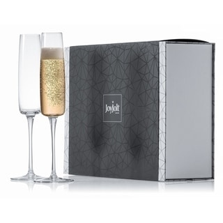 JoyJolt Amara High End Non-Leaded Crystal Champagne Glasses, Set of 2 6 Ounce Flute Glasses