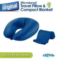 Cloudz Microbead Travel Neck Pillow and Compact Blanket Set