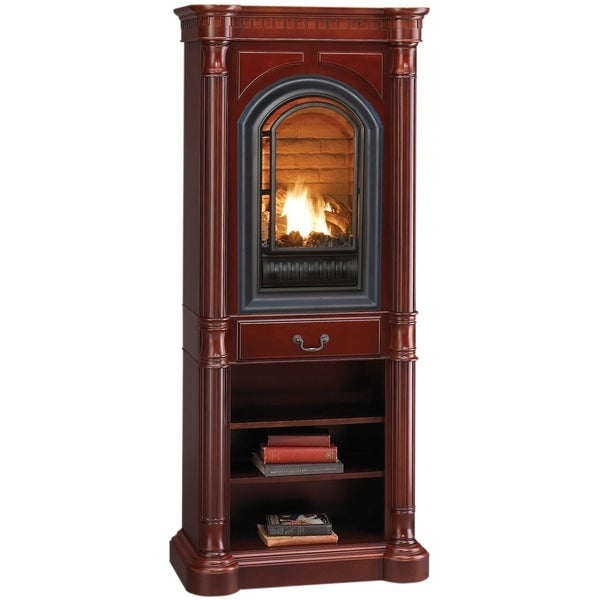 Hearthsense Natural Gas Ventless Gas Tower Fireplace 20000 Btu Cherry Finish