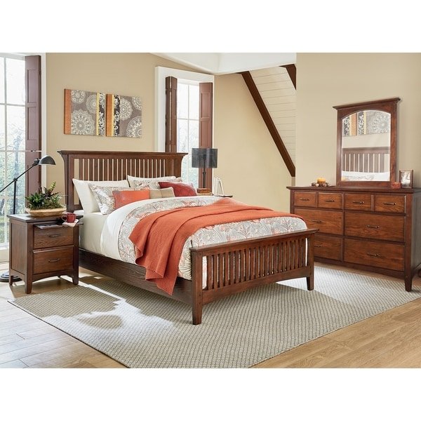 Modern Mission Queen Bedroom Set with 2 Nightstands and 1 Dresser with Mirror