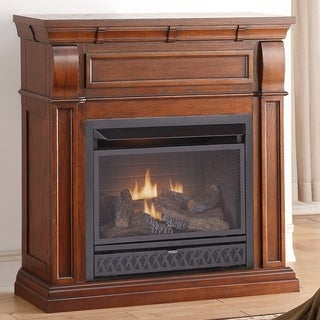 ProCom Dual Fuel Ventless Gas Fireplace - 26,000 BTU, T-Stat Control, Chestnut Oak Finish