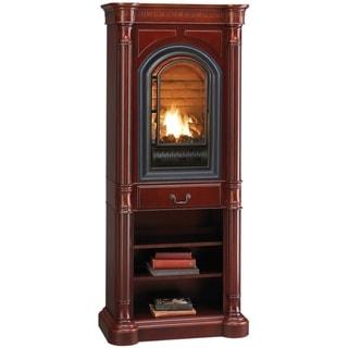 HearthSense Liquid Propane Ventless Gas Tower Fireplace - 20,000 BTU, Cherry Finish