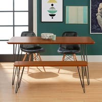 4-Piece Hairpin Dining Set with Upholstered Chairs - Walnut / Black