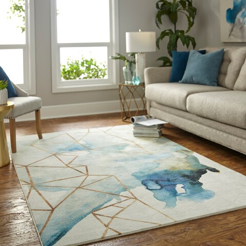 Mohawk Home Prismatic Cognition Blue/Cream/Gold Area Rug - 8'x10'