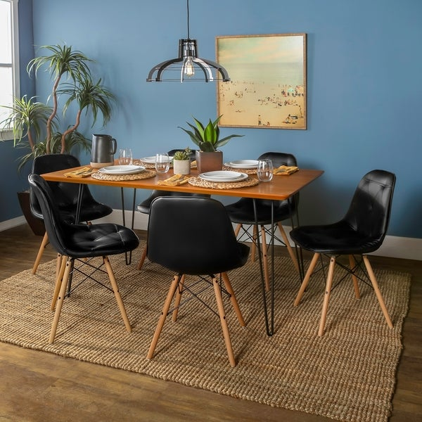 Square Hairpin 7 Piece Dining Set   Walnut/Black