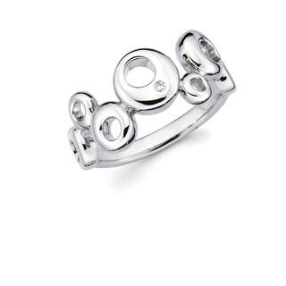 Sterling Silver Diamond Accent Alternating Circle Ring