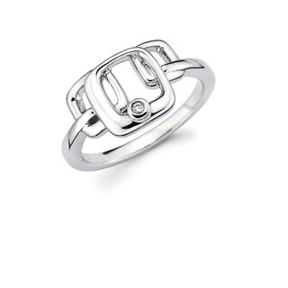 Sterling Silver Diamond Accent Overlapping Squares Ring