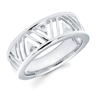 Sterling Silver Diamond Accent Openwork Fashion Ring