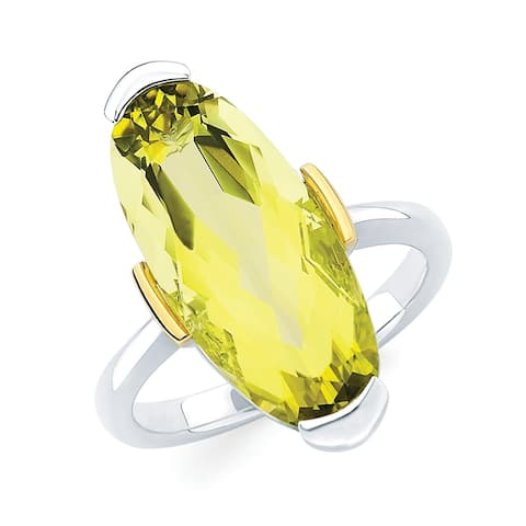 Sterling Silver with 18k Gold Accent Lemon Quartz Gemstone Ring