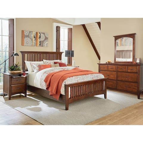 Modern Mission King Bedroom Set with 2 Nightstands and 1 Dresser with Mirror