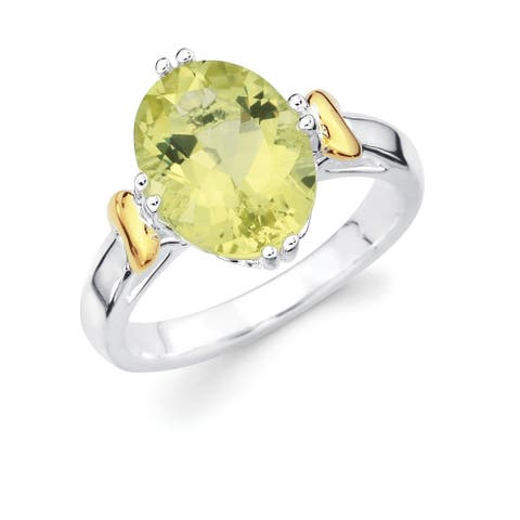 Sterling Silver with 18k Gold Accent Oval Lemon Quartz Gemstone Ring