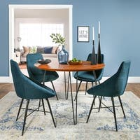 Carson Carrington Torring Round Hairpin 5-piece Dining Set - Walnut/ Blue