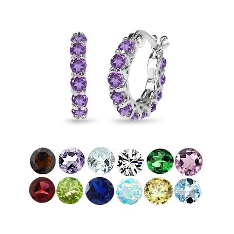 Glitzy Rocks Small Round Genuine, Created or Imitation Gemstone Huggie 18mm Hoop Earrings in Sterling Silver