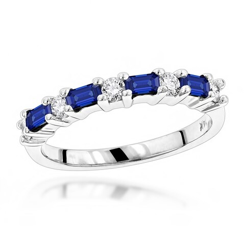 Unique Wedding Bands: Ladies 14K Gold Diamond and Sapphire Ring 0.25ctw G-H Color by Luxurman