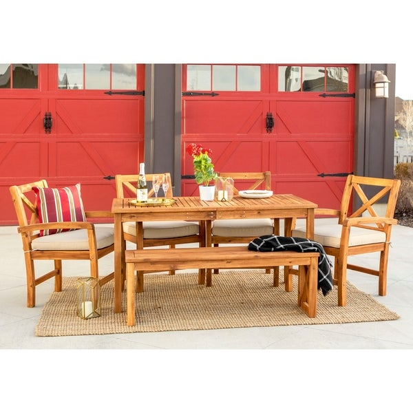 6 Piece Acacia Outdoor Dining Set Brown