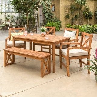 Acacia Wood Simple Patio 6-Piece Dining Set w/ x-shaped back - Brown