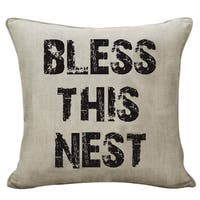 "Farmhouse Rustic ""Bless This Nest"" Decorative Throw Pillow"