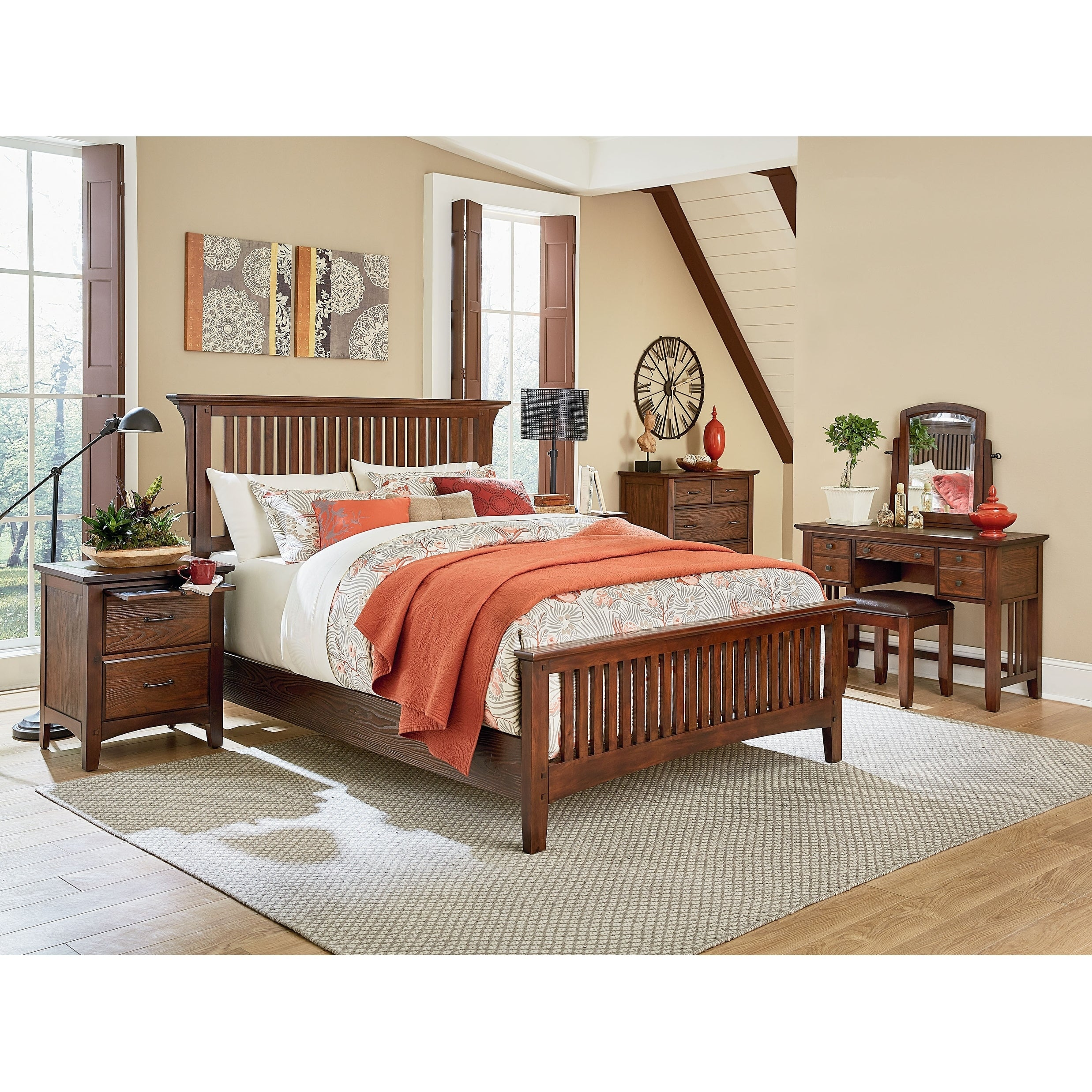 Modern Mission King Bedroom Set With 2 Nightstands 1 Chest And 1 Vanity With Bench Overstock 21174616