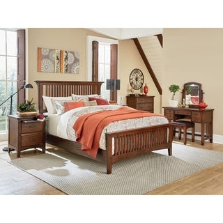 INSPIRED by Bassett Modern Mission King Bedroom Set with 2 Nightstands, 1 Chest and 1 Vanity with Bench