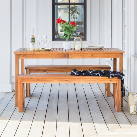 Surfside 3-piece Acacia Outdoor Dining Set - Brown by Havenside Home