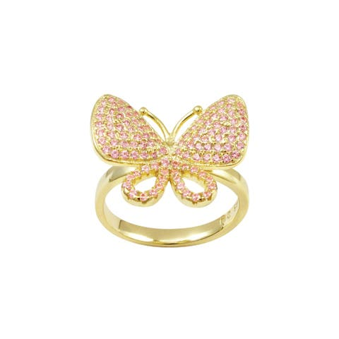 Luxiro Sterling Silver Gold Finish Pink Cubic Zirconia Teen's Butterfly Ring