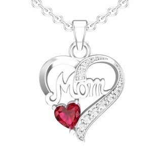 "Belinda Jewelz 6mm Created Ruby/Natural Garnet Moms Necklace Made in Sterling Silver with 18"" Singapore Chain"