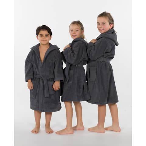 Sweet Kids Grey Turkish Cotton Hooded Unisex Terry Bathrobe