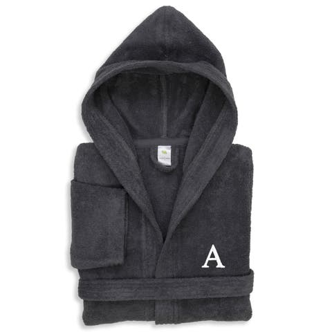 Sweet Kids Grey Turkish Cotton Terry Bathrobe with White Monogram
