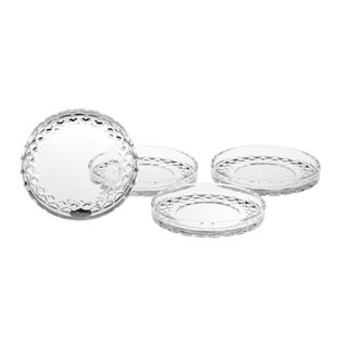 "Majestic Gifts European Crafted Cut Crystal Coasters- 4.25"" Diameter- Set/4"