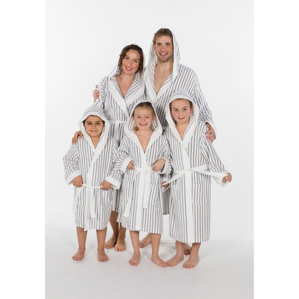 Authentic Hotel and Spa Alex Unisex Striped Turkish Cotton Terry Family Bath Robe