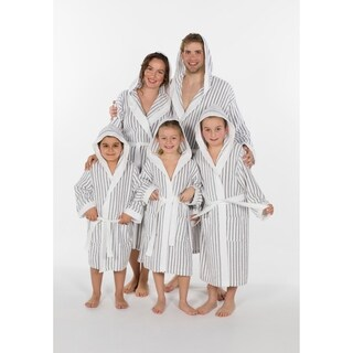 Authentic Hotel and Spa Alex Unisex Striped Turkish Cotton Terry Family Bath Robe (5 options available)