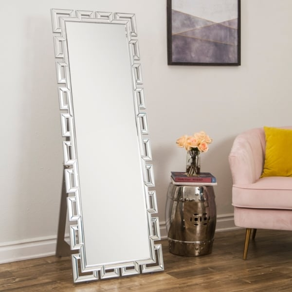 Shop Pierre Glam Silver Standing Floor Mirror By Abbyson