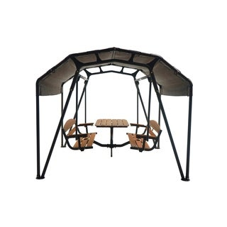Sunset Swings 460G Steel 6-person Patio Glider Swing Set with Table & Canopy