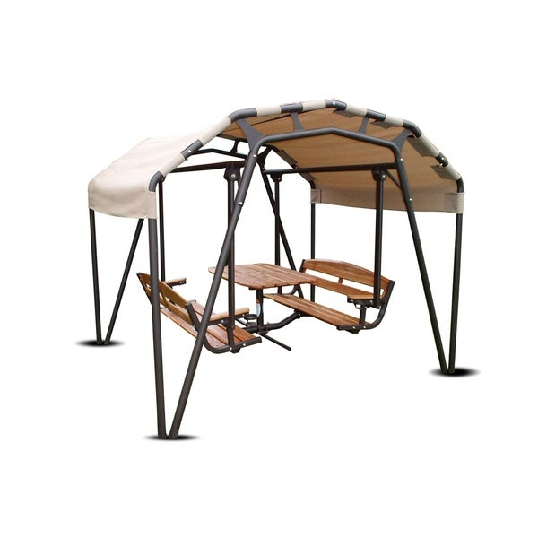 Sunset Swings 460g Steel 6 Person Patio Glider Swing Set With Table Canopy Free Shipping Today 21175104