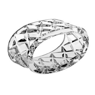 "Majestic Gifts European Cut Crystal Napkin Ring Holder, Oval Shape-2.62"" Long. Set/4"