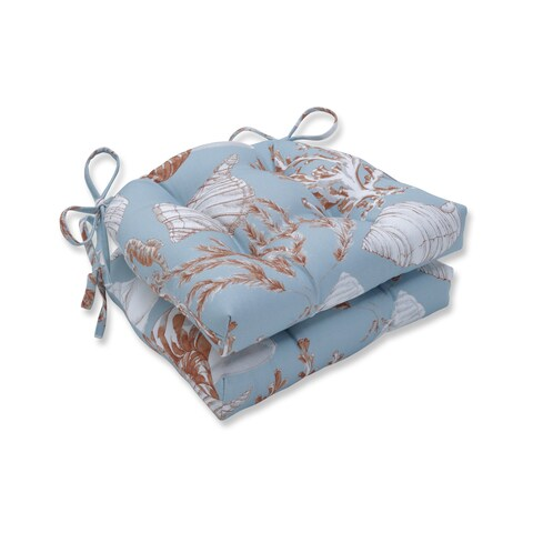 Pillow Perfect Indoor Cape Cod Reef Reversible Chair Pad (Set of 2), 16 in. L X 15.5 in. W X 4 in. D