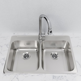 Link to Double-Basin Stainless Steel Topmount Sink Similar Items in Sinks