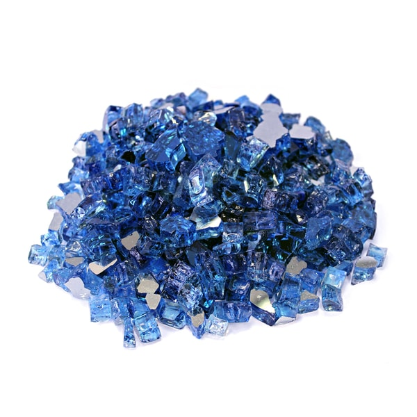 "Cobalt Blue 1/2"" Reflective Fireglass - 10 lb bag"